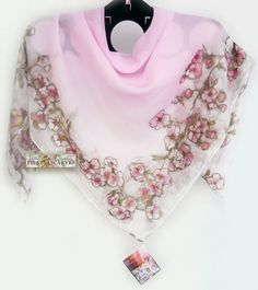 Hand Painted Scarfsquare scarflight pink by FilkinaScarves on Etsy