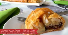 A super easy version of the German Apple Strudel using frozen butter puff pastry. Check out  http://www.quick-german-recipes.com/german-apple-strudel-recipe.html PIN NOW