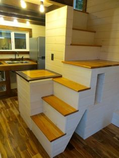 Awesome staircase in Robins Nest Tiny House: Full Tour. I'd add a railing as well as some carpet for the kitty. | Tiny Homes