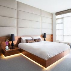 bedroom design with leather panels