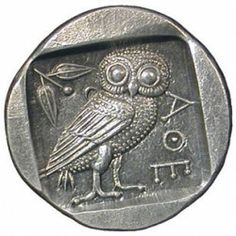 photo depicts the Tetradrachm of Athens coin. On its one side the owl of Athens, with an olive sprig was carved. On the reverse side of this ancient coin there is a portrait of the goddess Athena, patron of ancient Athens, in helmet. Ancient Greek Art, Ancient Greece, Ancient Egypt, Ancient Greek Tattoo, Ancient Aliens, Objets Antiques, Greek History, Ancient History, European History