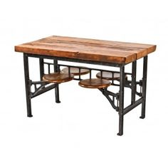 two of two original early 1920's american industrial refinished cast iron swing-out seat factory lunch table with maple wood seats--really like the industrial era style