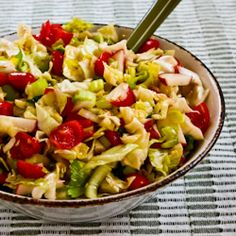 Recipe for Spicy Cabbage Salad with Tomatoes, Radishes, and Celery (Puerto Rican Cabbage Salad) [from KalynsKitchen.com]