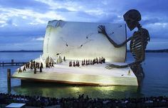 he Seebühne, a massive floating stage on Lake Constance, is the centerpiece of the annual Bregenz Festival in Austria. The stage hosts elaborate opera productions that are famous for their extraordinary set designs, for audiences of up to 7000. The Bregenz Festival is currently underway, with performances through August 21.