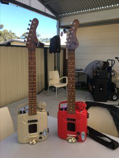 jerry can guitars that Billy made in the shed