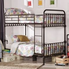 Finish your children's bedroom in a perfect meld of adventure and style with this Giselle antique-style metal bunk bed from Inspire Q. With graceful lines and a minimalist silhouette, this vintage-ins