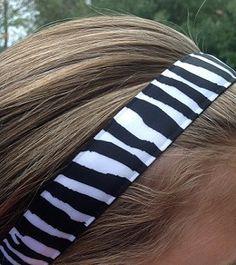 One Up Black and White Zebra Non Slip Headband