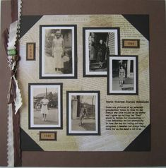 Remembering My Grandmother ~ Simply designed heritage tribute page with the look of an old-fashioned photo album. The journaling was printed on a transparency.