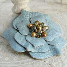 Ruffles Beaded Leather Flower Pin in Oracle by Viridian on Etsy Leather Art, Leather Jewelry, Ruffle Beading, Leather Projects, Leather Accessories, Flower Brooch, Flower Making, Beaded Embroidery, Fabric Flowers