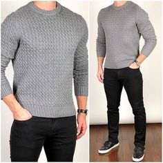Gq Mens Style, Men Style Tips, Stylish Mens Outfits, Casual Outfits, Men Casual, Suit Fashion, Fashion Outfits, Chunky Cable Knit Sweater, Mens Knit Sweater