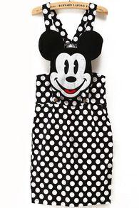 Black Strap Polka Dot Mickey Pattern Dress