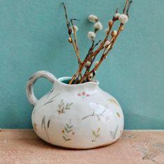 """Home of a Heart on Instagram: """"Кувшинчик, он же ваза, он же молочник, он же соусник. Нежная подглазурная роспись, ручная лепка, молочение на дне. Уже обрёл свой дом 🤲🏻…"""" Ceramic Pitcher, Vase, Ceramics, Home Decor, Ceramica, Pottery, Decoration Home, Room Decor, Ceramic Art"""