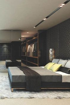 Modern Mens Bedroom Grey With Dark Wood Walls And Flooring | Ideas For Mens  Bedroom With Unique Wall Design #bedroomideasformen #bedroom #black #grey  ...