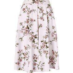 Miss Selfridge Floral Print Midi Skirt (69 AUD) ❤ liked on Polyvore featuring skirts, cream, women, midi skirt, calf length skirts, floral print skirt, floral print midi skirt and floral skirt