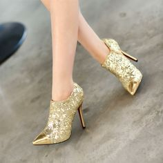 e45925a35b57 Ultra high heels thin heels gold wedding shoes paillette pointed toe shoes  bridesmaid shoes US  54.06