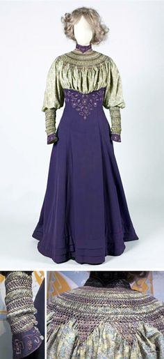 Walking suit (reform dress?), Liberty, London, 1906-07. Purple cloth and printed (silk?) with smocking & embroidery. Skirt, blouse, jacket and loose sleeves. Gemeente Museum, the Hague