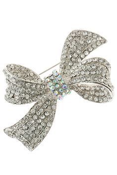 TOWN ONE DOZEN CRYSTAL ENCRUSTED RIBBON BROOCHES (12)