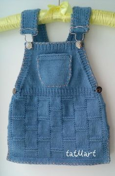 """knitting baby dress color """"jeans"""" 