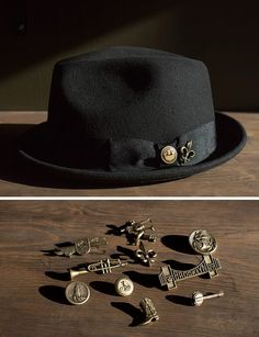 We& got new hat pins to suit your fancy! Get creative and place it on your hat, tie, lapel, bag or anywhere else you want to add a bit of panache and personality. Pork Pie Hat, Stylish Hats, Hat Boxes, Hat Shop, Cool Hats, Hat Pins, Hats For Men, Skate, Fashion Accessories