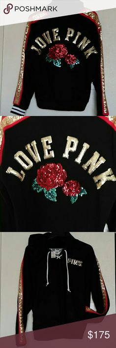 """PINK VS """"COLLECTORS EDITION"""" ROSES SWEATER GORGEOUS  Never worn Just got in the mail Special COLLECTORS EDITION roses PINK VS AUTHENTIC POCKETS ON SIDES TIES IN FRONT BLING BLING FRONT/BACK Might trade for the right ISO Or sell for right price Priced higher for trades!! PINK Victoria's Secret Sweaters"""