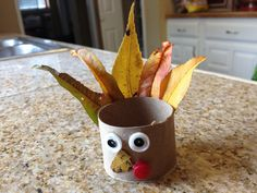 Toilet paper tube and fall leaf thanksgiving turkey craft for kids