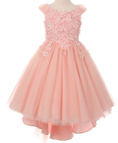 Elegant Flower Covered Tulle Formal Dress in BlushSoft Blush Pink Flower Embellished Formal Dress This is a high low style tulle and satin skirt with a boat neck collar and covered in 3-D lace flowers. Soft, light, and fluffy. This dress comes in girls sizes 4 - 16 and comes in ivory and blush. See below for this dress in other colors.