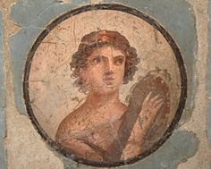 Fresco in the Fourth Pompeian Style with portraits set in medallions with blue background, from the exedra of the House of the Mosaic Atrium, AD, Empire of colour. From Pompeii to Southern Gaul, Musée Saint-Raymond Toulouse Saint Raymond, Atrium House, Pompeii, Ancient Romans, Blue Backgrounds, Mosaic, Toulouse, Rome, Empire