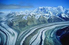 Aerial photo of Chitna Glacier, AK