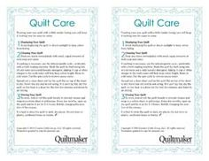 Free quilt care label you can download and print onto inkjet fabric sheets from Quiltmaker magazine. Great addition to quilts you give as gifts.