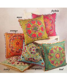 <p>This eco-friendly square accent cushions from Karma Living bring a splash of color to any room with their vibrant color...