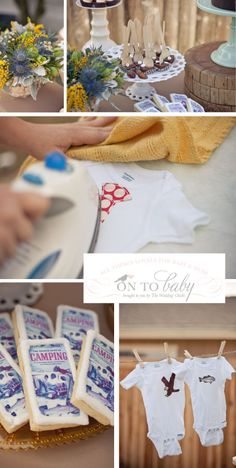 cute idea for onesie decorating - get some cute fabric and stencils to allow people to make iron on designs - so much better than puff paint
