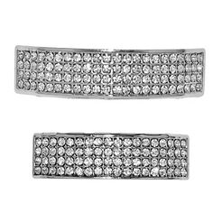 Four Row Grillz Iced-Out Silver Tone Top And Bottom 4 Rows CZ Teeth Grills Set