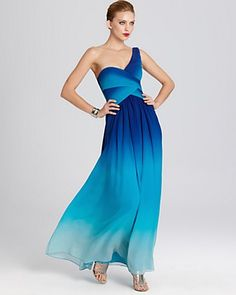 BCBGMAXAZRIA Ombre Print One Shoulder Gown - Available at Bloomingdales