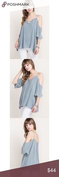 🆕 Denim Patterned Cold Shoulder Lace-up Top Perfect top for the upcoming warmer weather! Features lightweight material, loose fit, and adjustable straps. 100% Rayon.  . . . If you would like to make an offer, please use the OFFER BUTTON. {10% discount on all 2+ orders} . . FOLLOW US✌🏽️ Insta 📸: shop.likenarly Facebook📱: likenarly Website 🌐: likeNarly.com likeNarly Tops