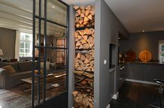 Steel doors and special storage for wood as a passage