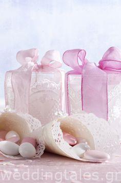 ΡΟΖ ΘΕΜΑ: Υπέροχες ρομαντικές μπομπονιέρες γάμου κουτί με διακοσμητική δαντέλα