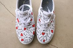 Easy, Quirky and Fun Valentine Gifts Craft! Painted Canvas Shoes, Painted Sneakers, Hand Painted Shoes, Shoe Crafts, Clothes Crafts, Shoe Art, Art Shoes, Best Valentine Gift, Valentines