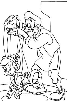 Pinocchio Learn To Walk Penguin Coloring Pages, Disney Coloring Pages, Mandala Coloring Pages, Coloring Book Pages, Printable Coloring Pages, Coloring Pages For Kids, Coloring Sheets, Pinocchio, Funny Easy Drawings
