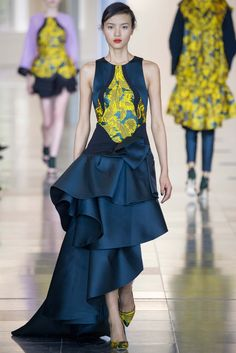 Antonio Berardi took to the orient for inspiration on this season's collection and upped the design quality of his collection with ruffles, luxe satin, and chic fabric mixing. thestyleweaver.com Fall 2015 Ready-to-Wear