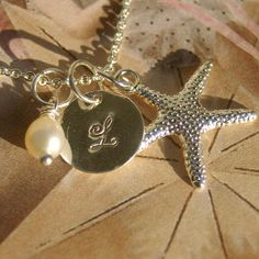 Silver Starfish, Initial, and Pearl Necklace - Bridesmaid, Beach, Initial, Pearl, Friendship via Etsy Shop:  OwensAcresDesign