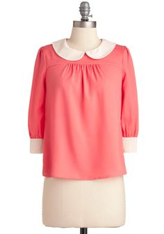 Seen in Style Top - Pink, Solid, Peter Pan Collar, Work, Vintage Inspired, 3/4 Sleeve, White, Buttons, 60s, Mid-length