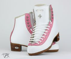 Pretty and pink skates for the lovely Christienne Briol! If you want your own check out our color options and see your nearest Authorized Dealer to order the skate of your dreams! Ice Skating, Figure Skating, Custom Boots, Skates, Converse, Dreams, Heels, Sneakers, Check