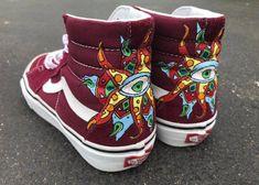 a25d58ed4e Trippy Geometric Mandala Custom Vans Sk8 Hi Sneakers