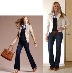 blush blazer, navy vneck tshirt, light blue polo?, nude pumps, jeans