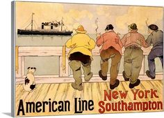 American Line, New York to Southampton, Vintage Poster, by Henri Cassiers