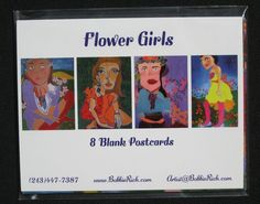 Flower Girls - Postcard Set of 8 - 4 different images - FREE SHIPPING. $20.00, via Etsy.