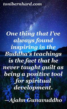 The Buddha never taught guilt as being a positive tool for spiritual development.