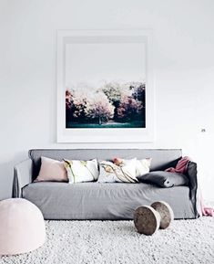 Pale pink, grey, teal, love this color combo and would be easy to do in my bedroom!
