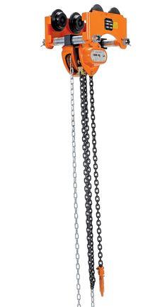 "Vestil LOW-2P Push Low Headroom Combination Chain Hoist/Trolley, 2000 lbs Capacity, 2-1/2""- 8"" I-Beam Flange"