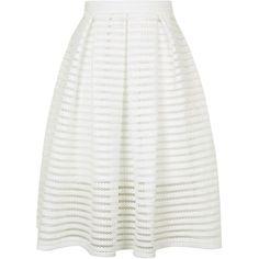 TOPSHOP Airtex Striped Prom Skirt (4.810 RUB) ❤ liked on Polyvore